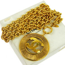 Authentic CHANEL Vintage CC Logos Medallion Gold Chain Pendant Necklace V11835