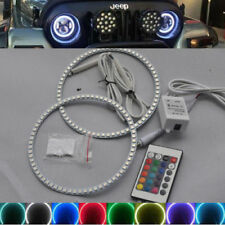 2x remote control RGB LED Angel Eyes Rings Headlight light For Jeep Wrangler