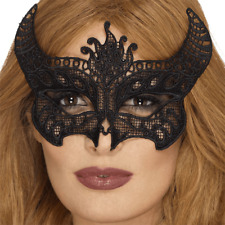 Ladies Black Lace Devil Eye Mask Halloween Fancy Dress Masquerade Accessory New
