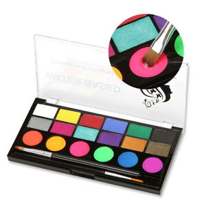 Professional Face Paint Kit, Large Water Based Paints, 2 Brushes, Professional