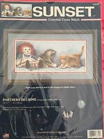 2003 Sunset Dimensions Partners in Crime RARE Cross Stitch Kit cats kittens13709