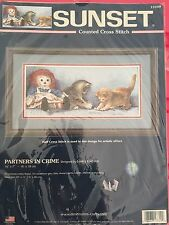 2003 Sunset Dimensions Partners in Crime RARE Cross Stitch Kit cats hat 13709