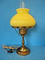 VINTAGE ANTIQUE BRASS DESK-TABLE LAMP WITH YELLOW CASED GLASS SHADE