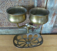 VINTAGE Victorian Style SOLID BRASS TOOTHBRUSH SOAP CUP HOLDER WALL MOUNT