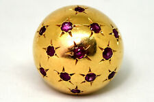 Exquisite 14K Solid Gold and Natural Ruby Dome Ring Size 6.5