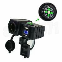 12V Wasserdicht USB Motorrad Zigarettenanzünder Steckdose LED Voltmeter Kompass