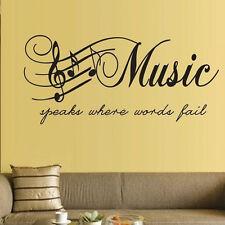 1 * Mignon Home Decor Stickers muraux Musique Notes de musique amovible