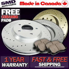 Z0253 FIT 2003 2004 Toyota Echo FRONT Cross Drilled Brake Rotors Ceramic Pads
