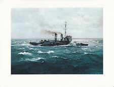 """1976 Marine Color Plate """"H.M.S. Rosemary"""" By Chris Mayger WAR SHIP PRINT WARSHIP"""