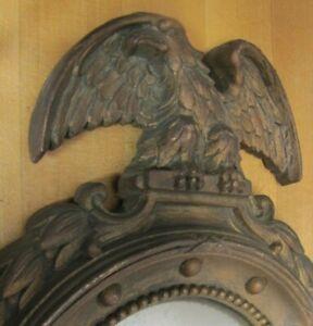 PERCHED EAGLE CONVEX MIRROR Vintage Figural Decorative Arts Ornate Thick Detail