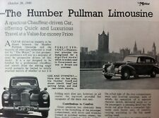 HUMBER PULLMAN LIMOUSINE -1949 - Road Test removed from TheMOTOR magazine