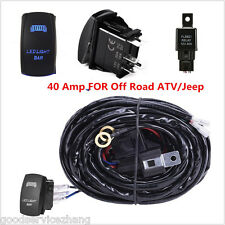 40 Amp Off Road ATV/Jeep Blue LED Light Bar Wiring Harness Relay & ON/OFF Switch
