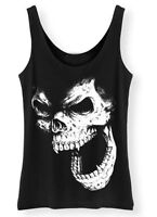 Skull Tank Top SCREENPRINTED Womens vest Rock Punk Horror Vampire gothic ladies