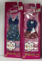 Vtg Barbie Butterfly Art Fashion 1998>>Red & Blue w Denim outfit x2 NIB