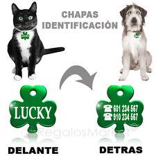 Chapa identificación/Placa identificacion collar gato y perro en forma de trébol