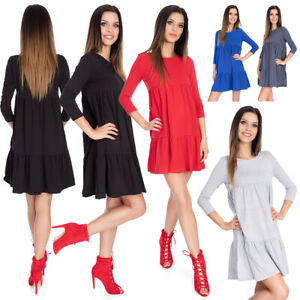 Womens Loose Fit Shift Mini Dress A-line 3/4 Sleeves Draped Cotton Tunic 9023