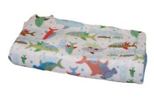 """Sharks Baby Blanket Minky Crib Quilt Blue Marcel Name Embroidered 28 x 35"""" Hand"""