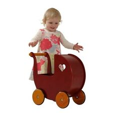 wooden toy Children's Wooden Dolls Pram Moover RED
