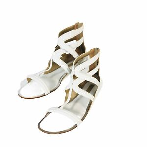Michael Kors White Leather Zip Cage Flat Sandals Strappy Women's Sz 7-38