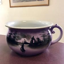 Antique English Chamber Pot Porcelain Purple Amethyst Sailboat Scene Nautical