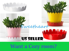 IKEA CUTEST Out/Indoor Metal Plant Saucer Tray Base Bottom Pan Red/White