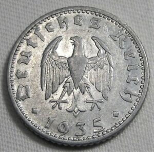 1935-D Germany 50 Reichspfennig XF Coin Very Lustrous! AE432