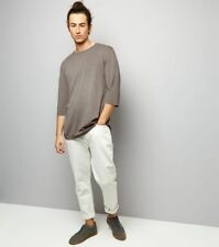 New Look Men's Curved Hem T-Shirt Small Beige (stone)