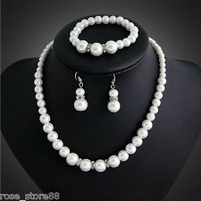 Fashion Women Crystal Shell Pearl Bracelet & Necklace&Earring Bridal Jewelry Set