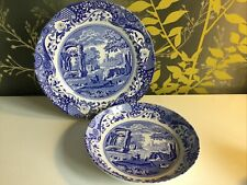 Spode Blue Italian Plate And Bowl
