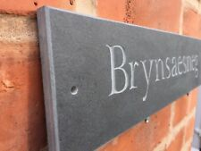 """Quality natural riven Slate House Sign 16"""" X 4""""  400mm x 100mm Any Name / Number"""