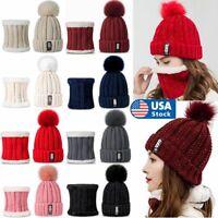 Women Winter Warm Beanie Hat Cap Knitted Scarf Set Skull Outdoor Neck Snood