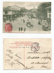 SINGAPORE 1908 PC, Road to Tanjong Pagar, Singapore sent to France @3c rate