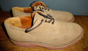 MENS WALK-OVER BEIGE SUEDE WINGTIP OXFORDS SHOES SIZE 11 M