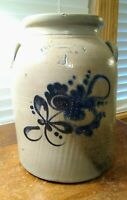 FULPER BROS FLEMINGTON, NJ FLOWER DECORATED 2 GALLON STONEWARE CROCK SOLD AS IS
