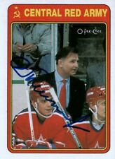 Viktor Tikhonov Coach Central Red Army Hockey Autographed Signed Card JSA COA