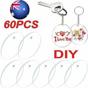 60pcs Clear Acrylic Keychain Blank Round Disc + Key Ring DIY Crafts Kit