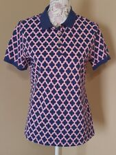 Lands End women's polo top size small pink and blue design 97% cotton
