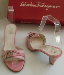 FERRAGAMO Designer Italy Pink Slip On Pump Heels Sandals Size US 6.5 EU 37 UK 4