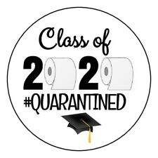 "24 2.5"" QUARANTINE GRADUATION CLASS OF 2020 Round Labels Stickers"