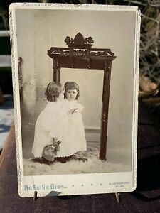 Sweet Cabinet Card Image Girl in Mirror with Doll