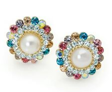 Small Clip on Earrings with pearl and multi crystals