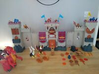 Imaginext Fisher Price Castle Interactive bundle with Red Dragon and 6 Knights.