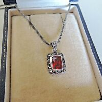 Sterling Silver Art Deco Style Radiant Cut Garnet and Marcasite Pendant Necklace