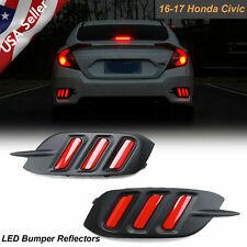 For Honda Civic 2016-2019 4DR LED Reflector Bumper Taillight Brake Light Bezels