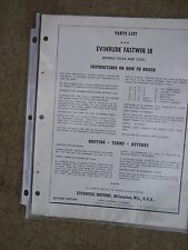 1961 Evinrude Outboard Motor Fastwin 18 HP Parts List 15034 15035  Boat U