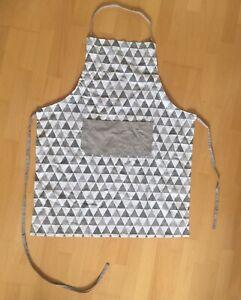 Clayre /& Eef Schürze Let/'s stay home Sterne geometrisch weiß silber grau 70x85cm