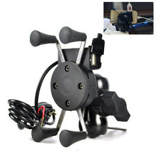 Motorcycle X-Grip Holder Bike Cell Phone GPS Handlebar Rail Mount USB Charger#E