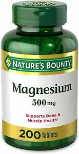 Magnesium by Nature's Bounty, 500mg Magnesium Tablets for Bone & Muscle...