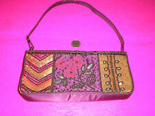 LADIES EVENING BAG 'MARKS & SPENCERS' BEADED SEQUINS PURPLE REDS BROWNS