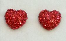 12mm Red Crystal HEART Silver Plated Stud Earrings Valentine Gift